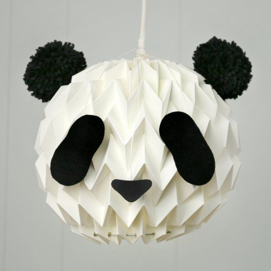 Turn your white paper lanterns into a cute panda, with 2 pompoms - white paper template