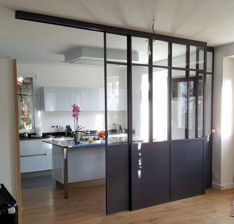 Verrire avec une double porte coulissante ral 7021 cuisine