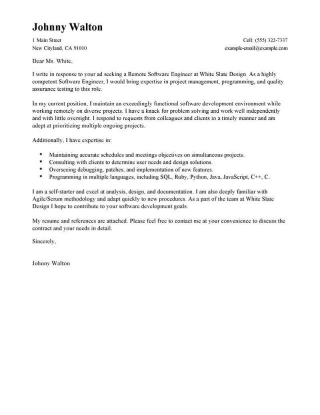 25+ Software Engineer Cover Letter | Cover Letter Examples For Job ...