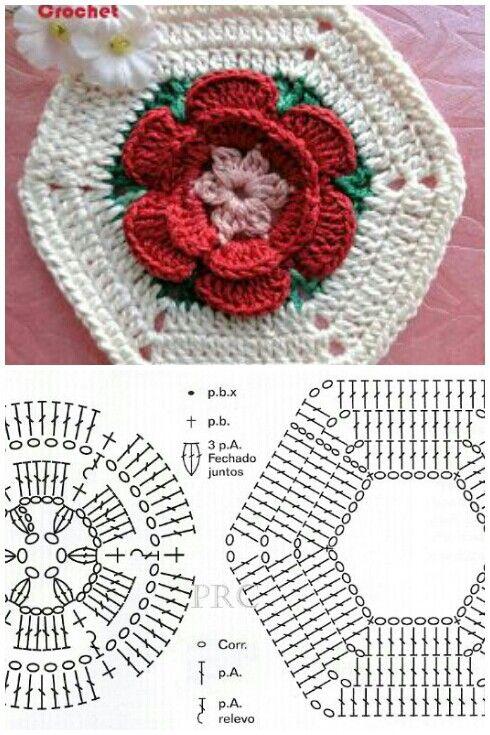 وحده سداسية   crochet lily   Pinterest   Tejido, Cuadrados y Ganchillo