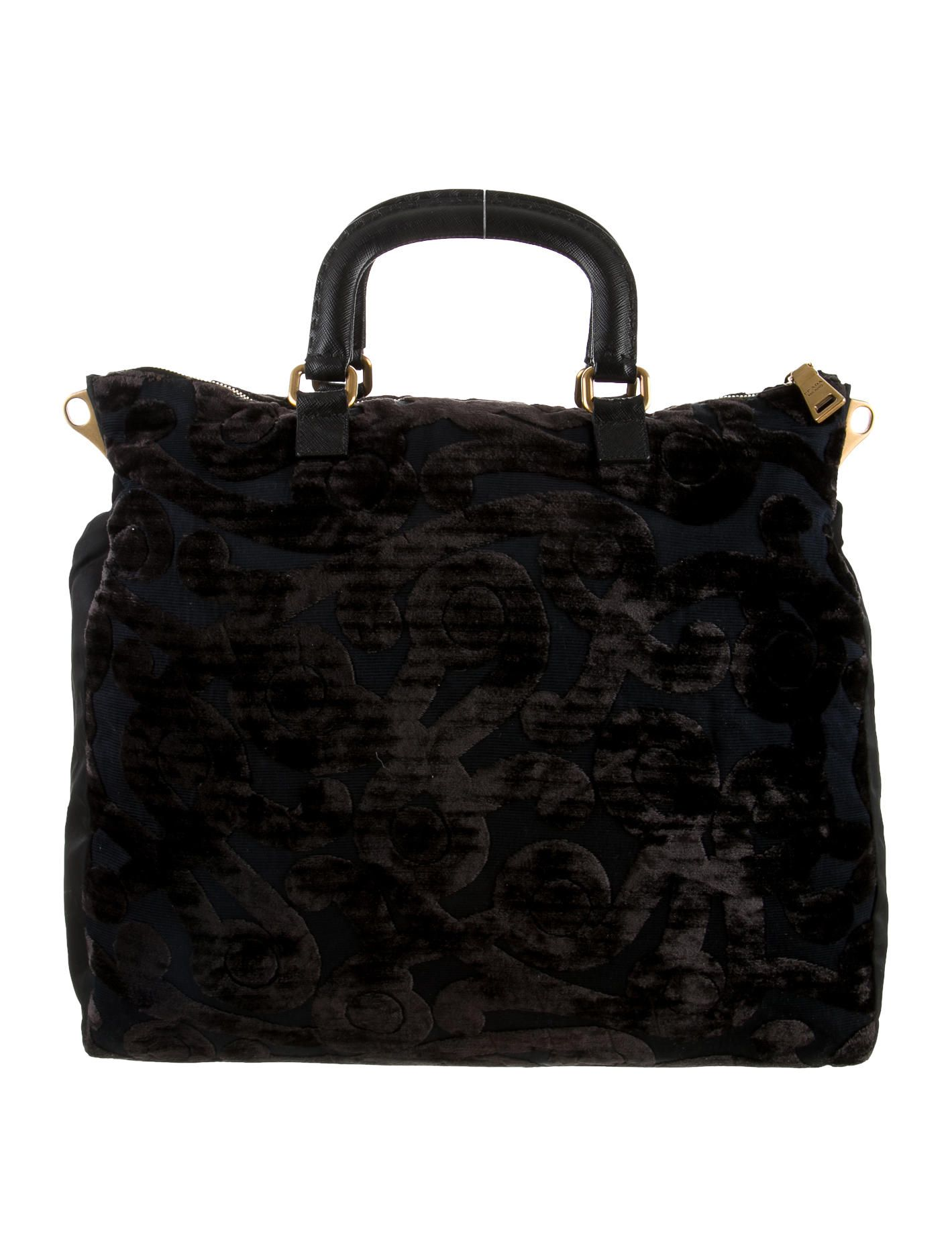 4bf439210fb8 Brown and black velvet Prada Velluto Jacquard tote with gold-tone hardware