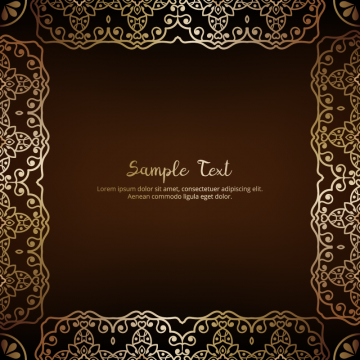 Floral Invitation Card Or Background With Antique And Gold