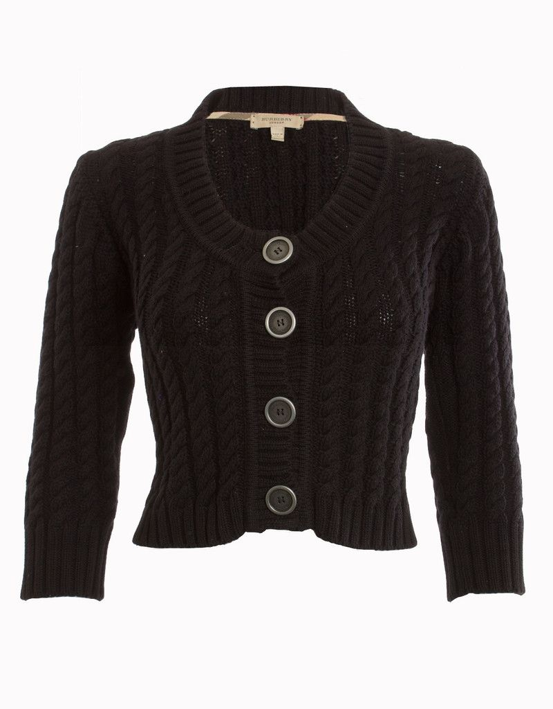 BURBERRY BLACK CABLE KNIT CROPPED CARDIGAN SWEATER SIZE MEDIUM ...