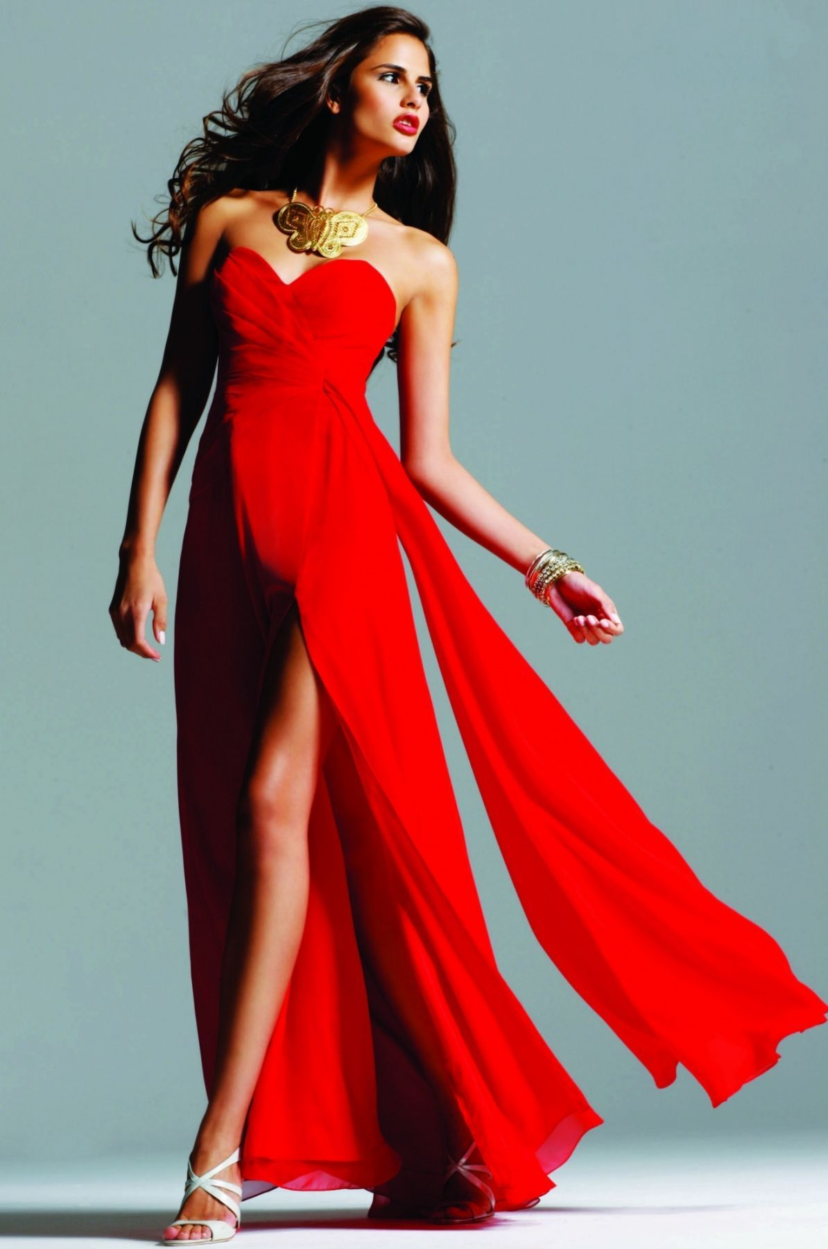 Strapless evening dress with high front slit | Faviana Style 6428 ...