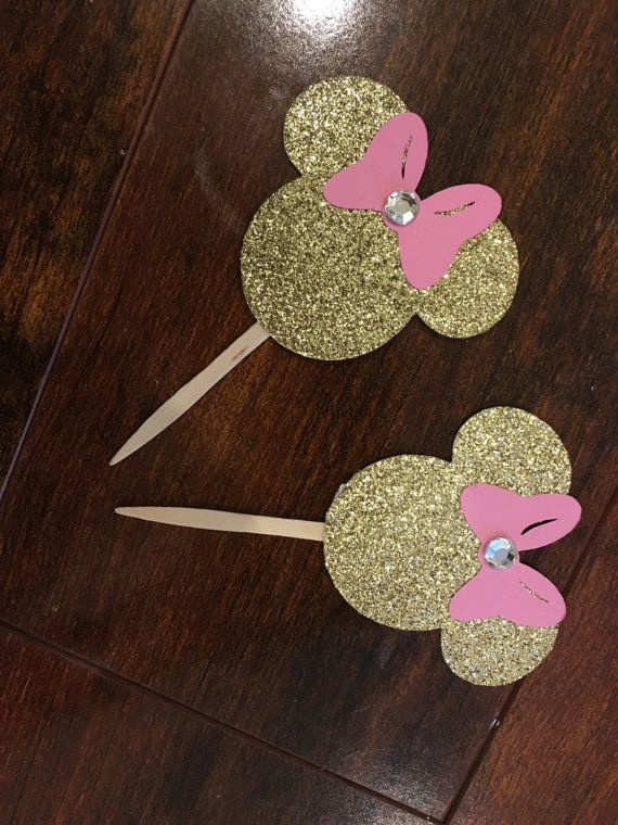Pink and Gold glitter Minnie Mouse inspired Cupcake Toppers, First Birthday #minniemouse