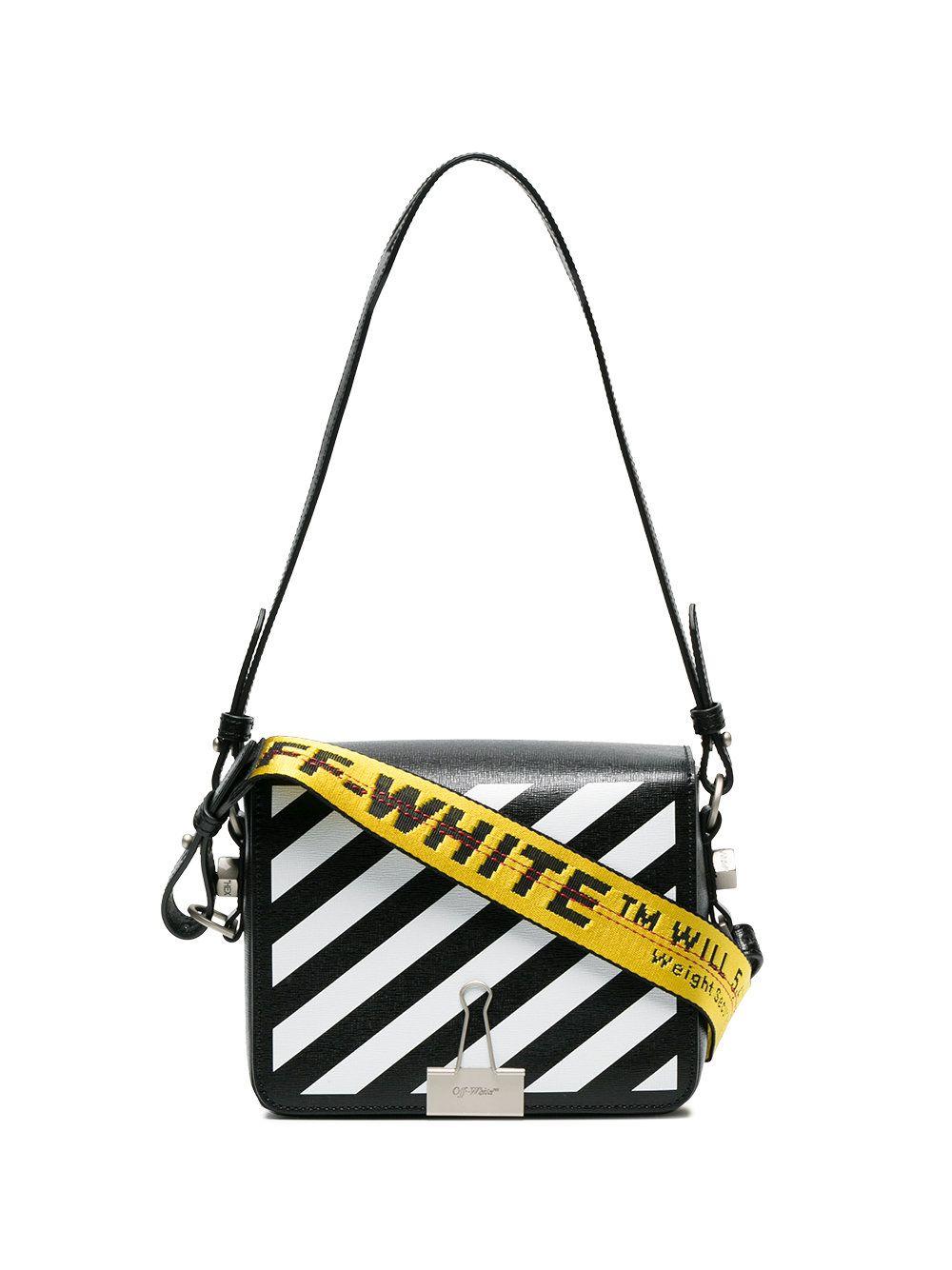 641822bf09 Off White Bulldog Clip Diagonal Stripe Shoulder Bag