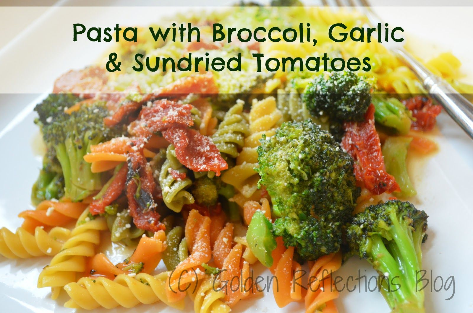 Pasta with broccoli garlic sundried tomatoes golden