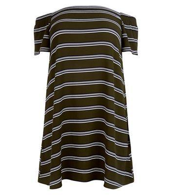 Curves Khaki Stripe Bardot Neck Dress