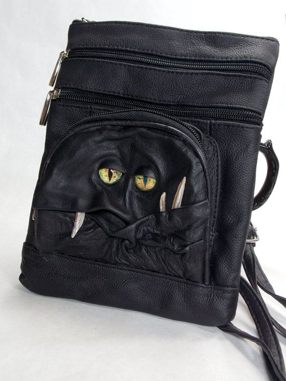 Messenger Bag Black Leather Purse With Face Rpg By Pippenwycks 65 00