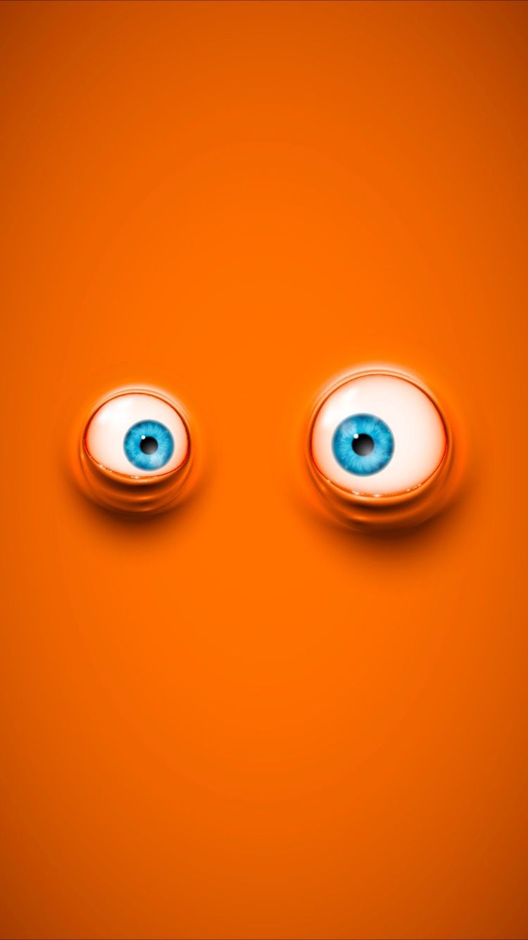 Cool Cartoon Eyes On Orange Background Wallpapers For Iphone 7 Get Free At The Everpix App Funny Cartoon Faces Eyes Wallpaper Cartoon Eyes