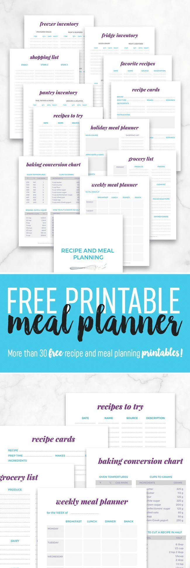 Our free printable meal planner is a great way to organize your fridge, freezer and pantry and plan...