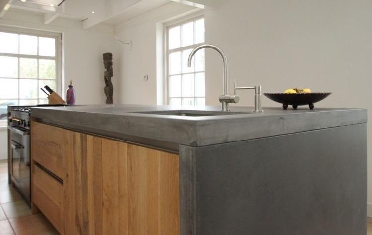 Eiken houten keuken met betonnen keukenblad future house ideas