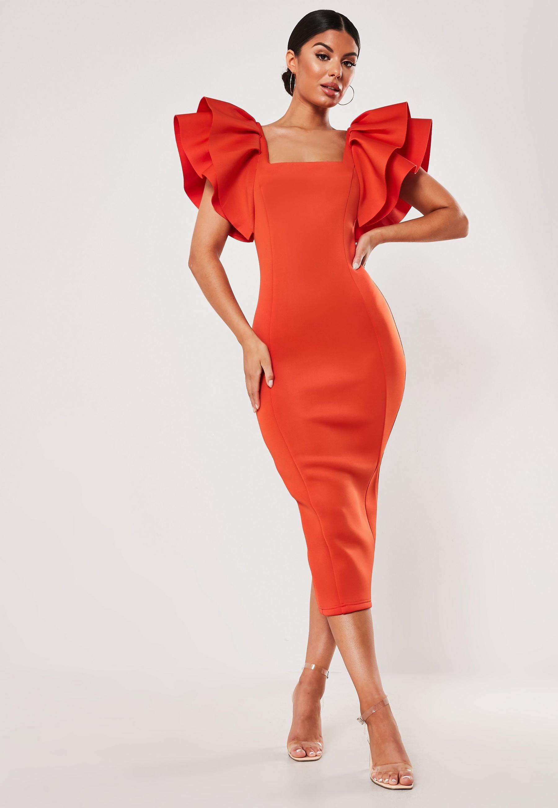 Red Square Neck Scuba Midi Dress Missguided Orange Midi Dress Women Dress Online Fashion Dresses [ 2608 x 1800 Pixel ]