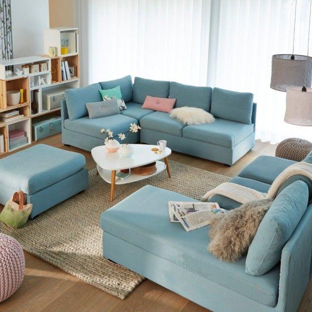 25 inspirations déco en bleu ciel | Salon | Canapé modulable ...