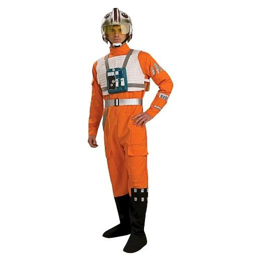 make an impressive entrance in this mens star wars clone wars x wing fighter pilot adult costume the complete look includes the iconic orange jumpsuit and - Clone Wars Halloween Costumes