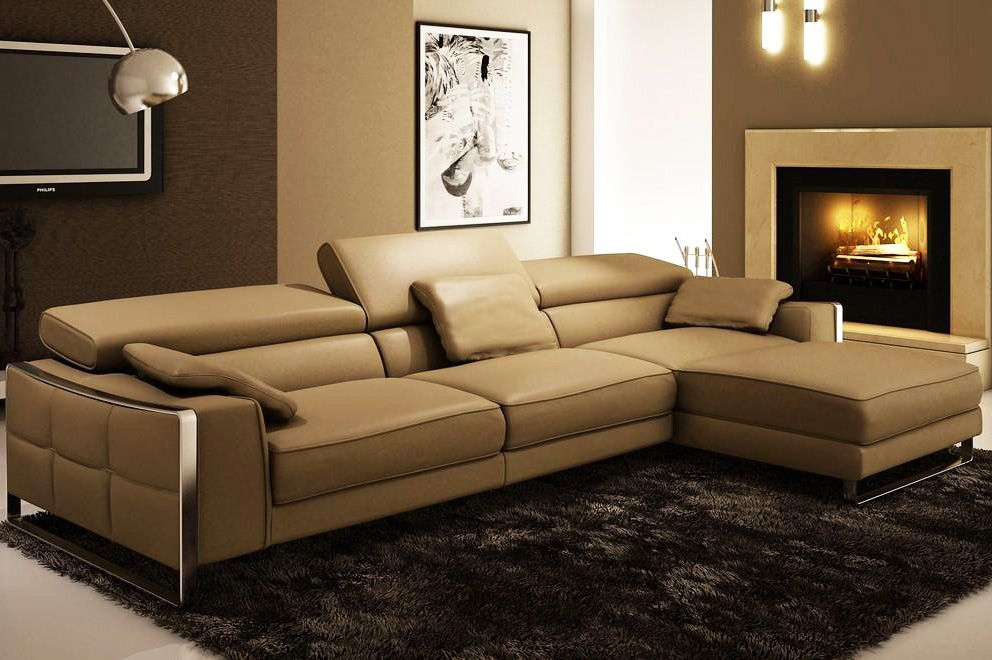 Recliner Sofa Modern Leather Sectional Sofa Flavio Contemporary with Motional headrests Available other colors leather Leather Sectionals