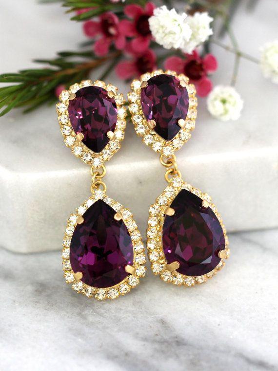 Purple Amethyst Earrings Chandelier Earring Drop Swarovski Dangle Bridal
