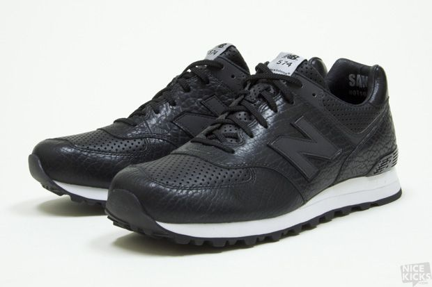 new balance black 574 lux leather trainers