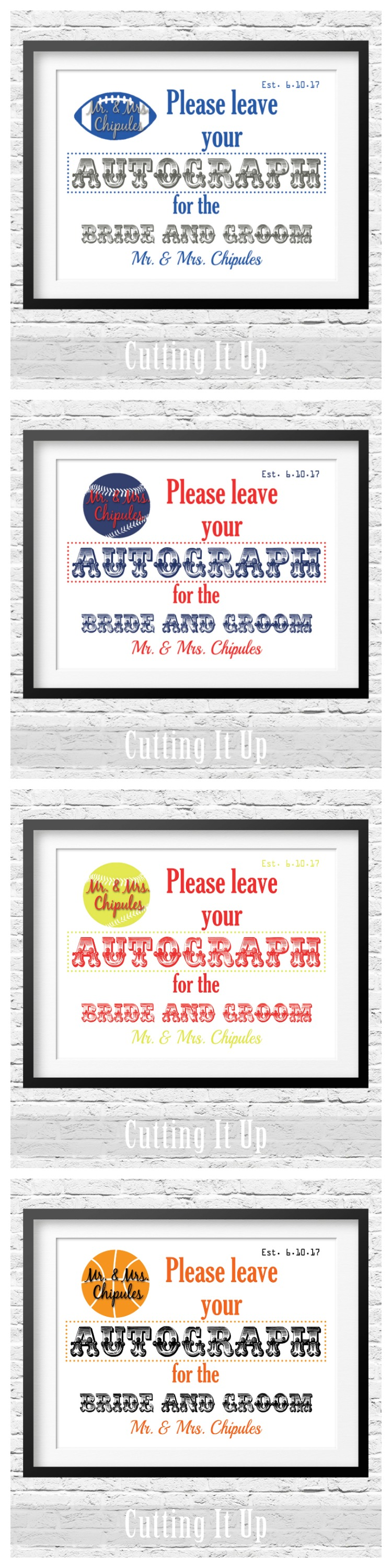 Are you having a Sports Themed Wedding? These fun Autograph Signs ...