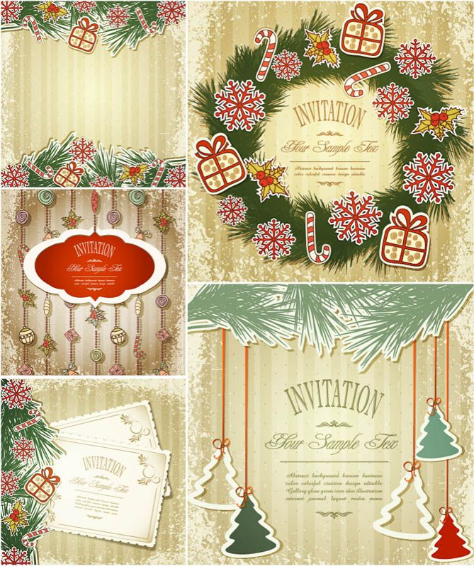 Vintage Christmas Invitation Cards Vector