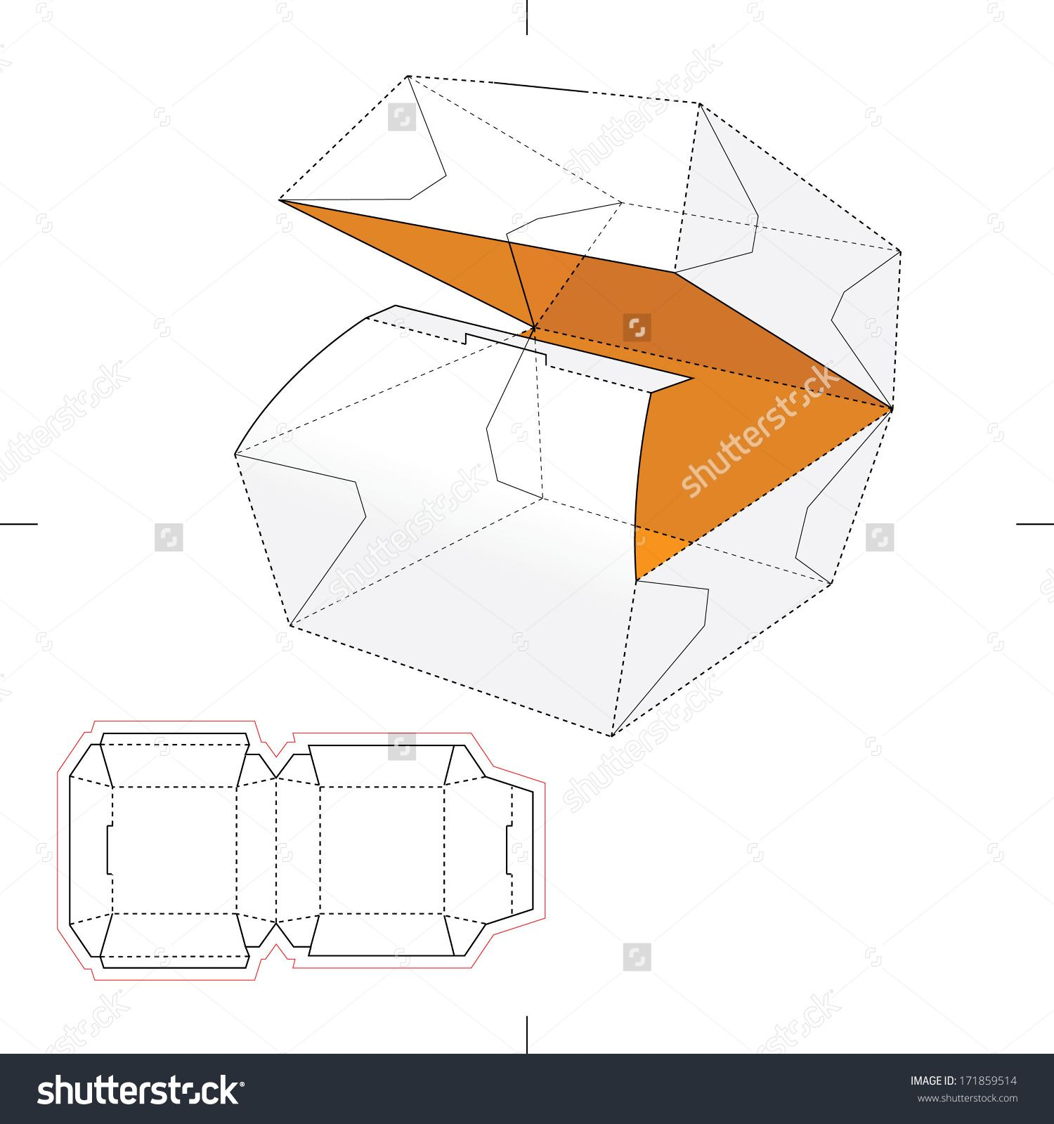Squared Fast-Food Box With Blueprint Layout Stock Vector ...