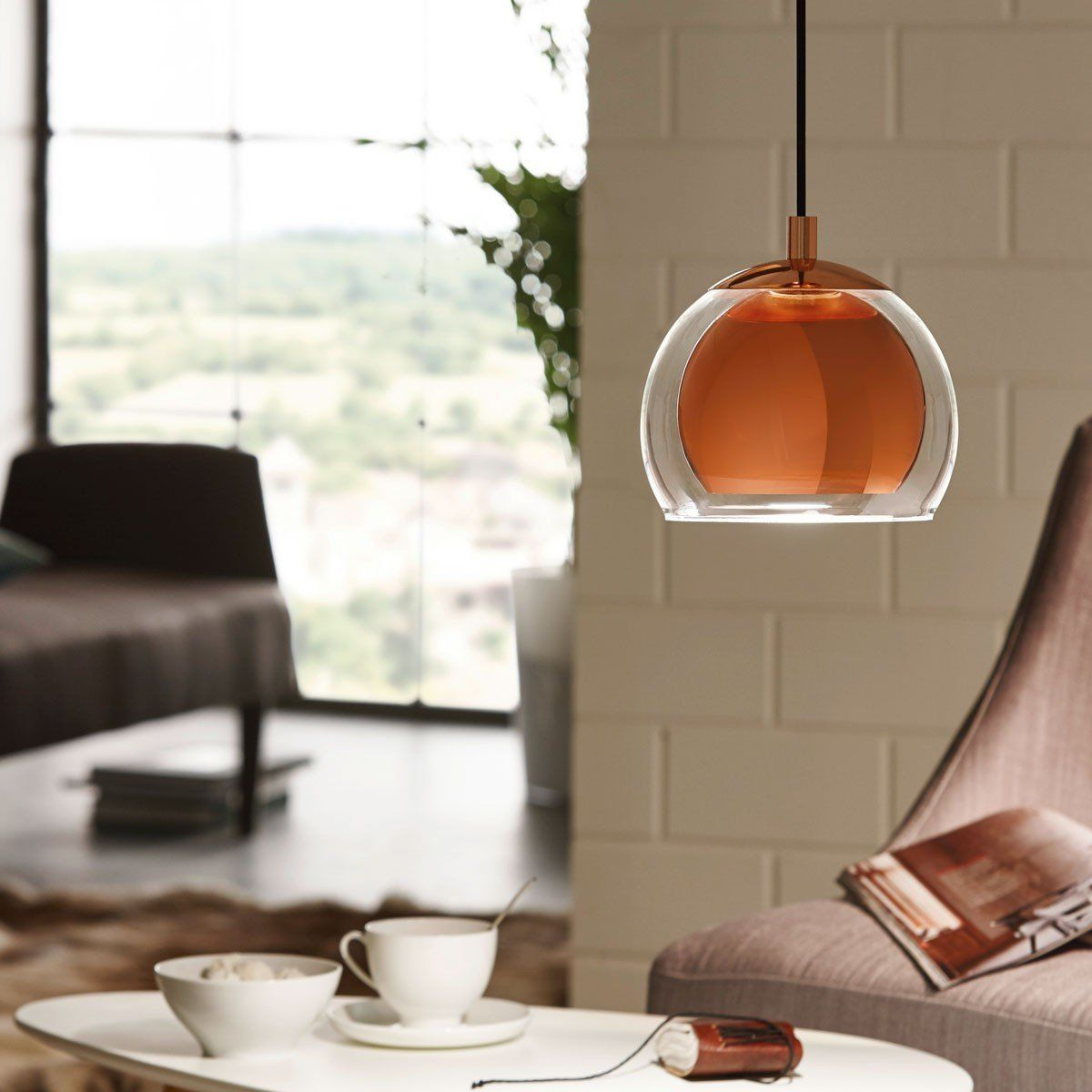 licht trend join pendelleuchte mit klarglas kupfer pendellampe beleuchtung. Black Bedroom Furniture Sets. Home Design Ideas