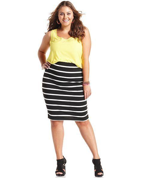 soprano plus size skirt, striped pencil - junior plus size - plus