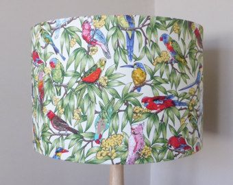 Australian parrots lampshade fabric lamp shade birds handmade shop for bird lamp shade on etsy the place to express your creativity through the buying and selling of handmade and vintage goods mozeypictures Choice Image