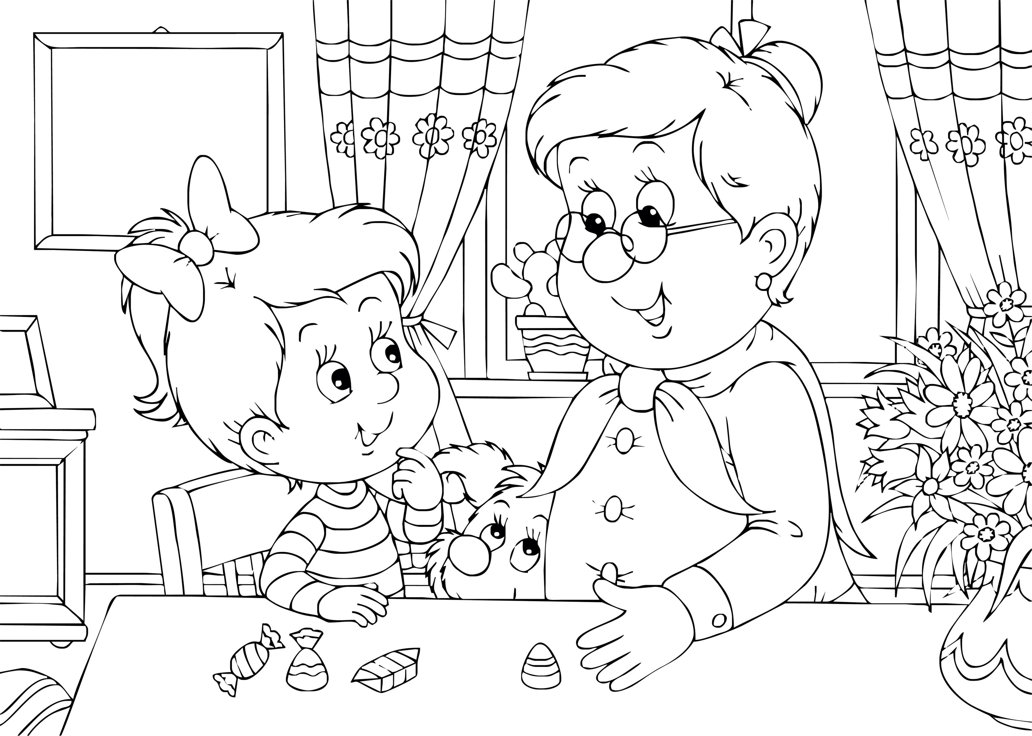 I Love You Grandma and Grandpa Coloring Pages, Thank You