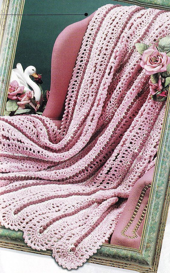 Lace Afghan Crochet Pattern - Pretty Mile-A-Minute | Afghan crochet ...