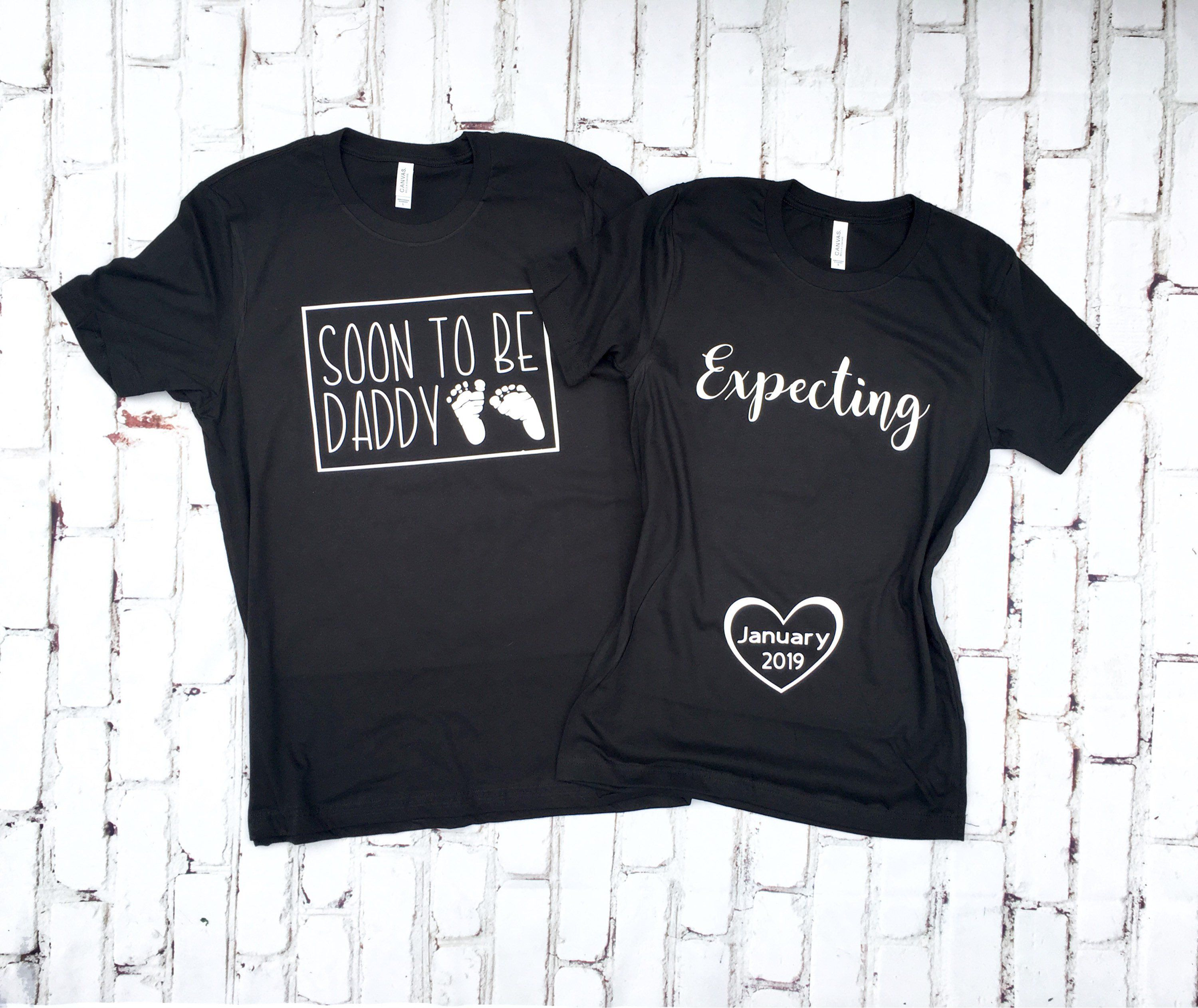 7beb3857 Matching Couple T Shirts Maternity Shirt Expecting Announcement Pregnancy  Reveal New Baby Expectant Mother Dad To Be Baby Loading -SA171-172 |  Inspiring ...