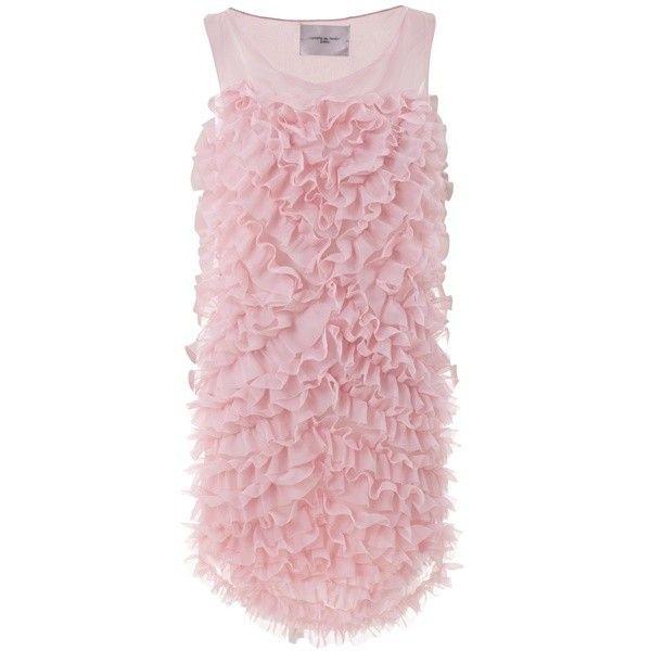 LUNGTA DE FANCY 10SS74 PINK SILK - ($510) ❤ liked on Polyvore featuring dresses, платья, pink, vestidos, women, round neck sleeveless dress, round neck dress, pink silk dress, pink sleeveless dress and ruffle front dress