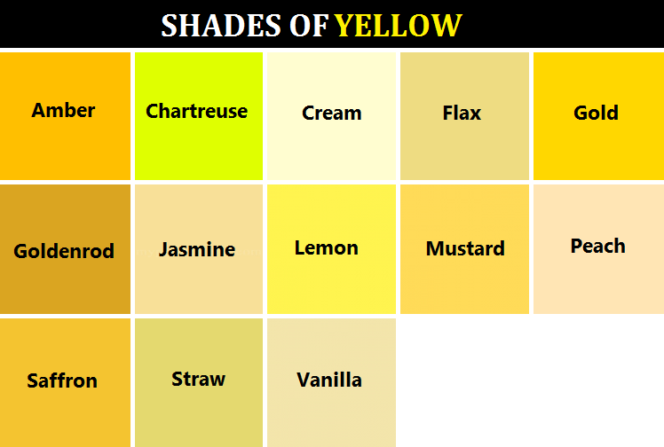 Yellow Shades color names red gold - google search | color | pinterest | writing