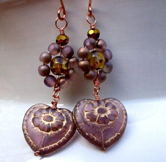 dangle earrings drop earrings vintage heart Czech by chashway, $35.00