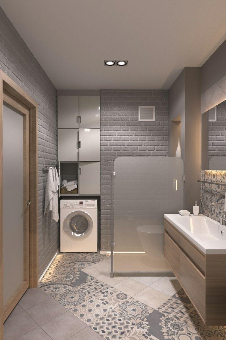 Come arredare un bagno moderno con zona lavanderia da incasso alla parete  Bagno nel 2019