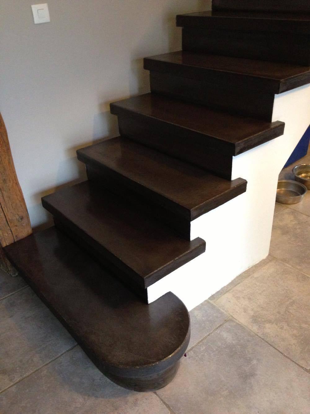 Marche De Depart Arrondi Nez De Marche Carre Limon Platree Escalier Beton Beton Teinte Escalier