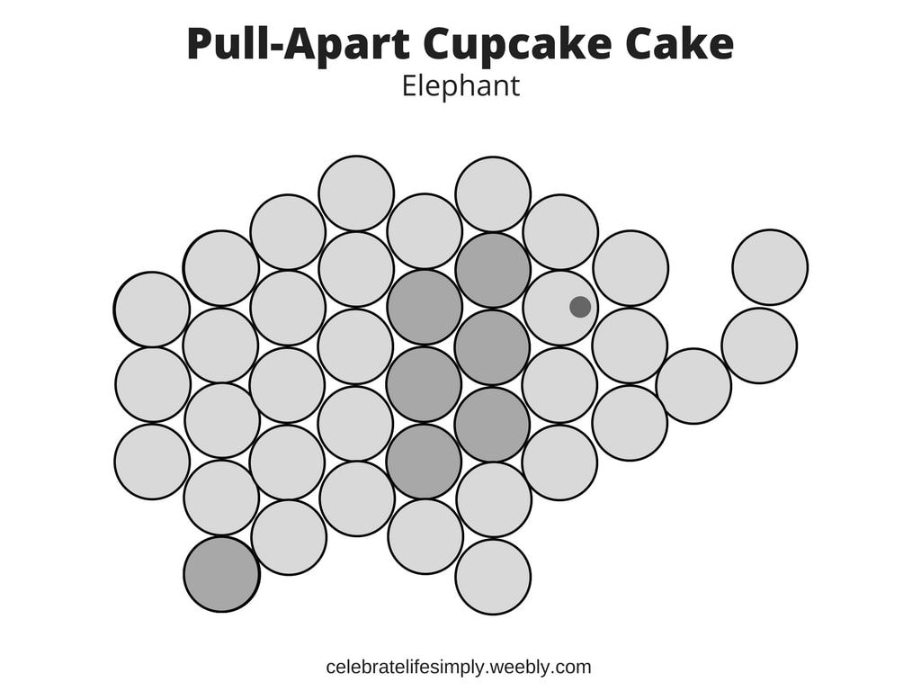 Elephant Pull-Apart Cupcake Cake Template | party | Pinterest | Cake ...