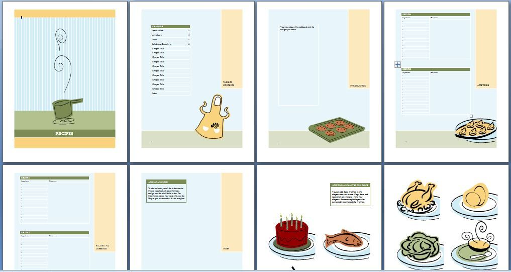printable cookbook template for word interests cookbook template
