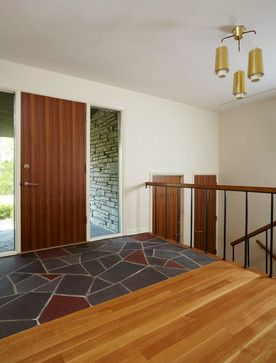 very mid century ceiling lights and feel to the door and railing. also a glass panel entry door will not work because we need the privacy for the guest bathroom