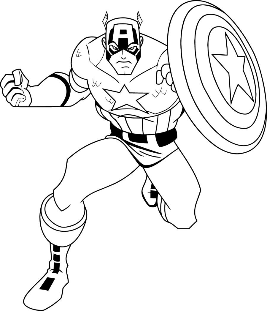 Free Captain America Coloring Pages With Page In