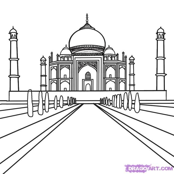 How To Draw The Taj Mahal Step 6 3d In 2019 Taj Mahal Drawing