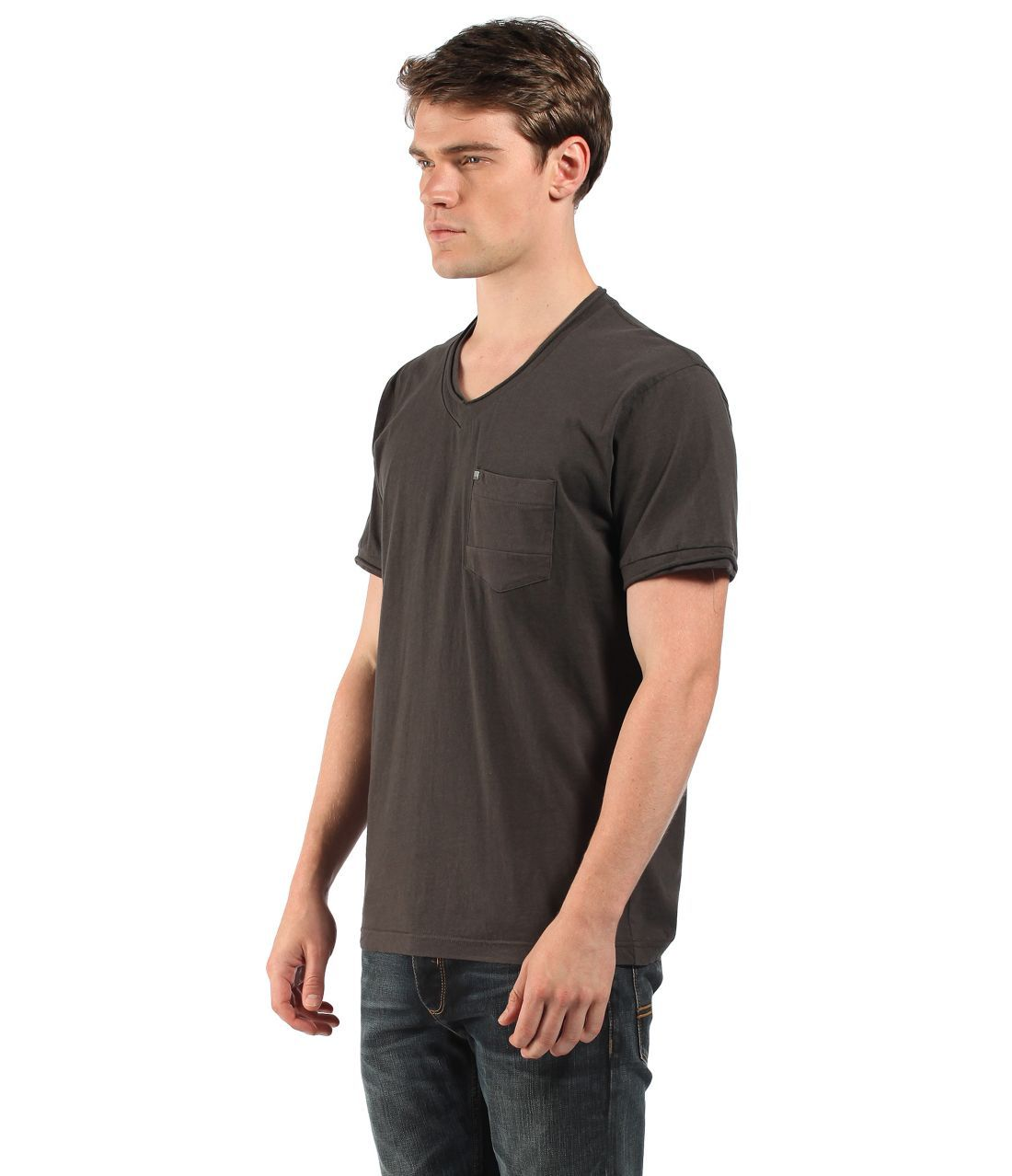 Cotton t shirt with v neck and pocket on front left