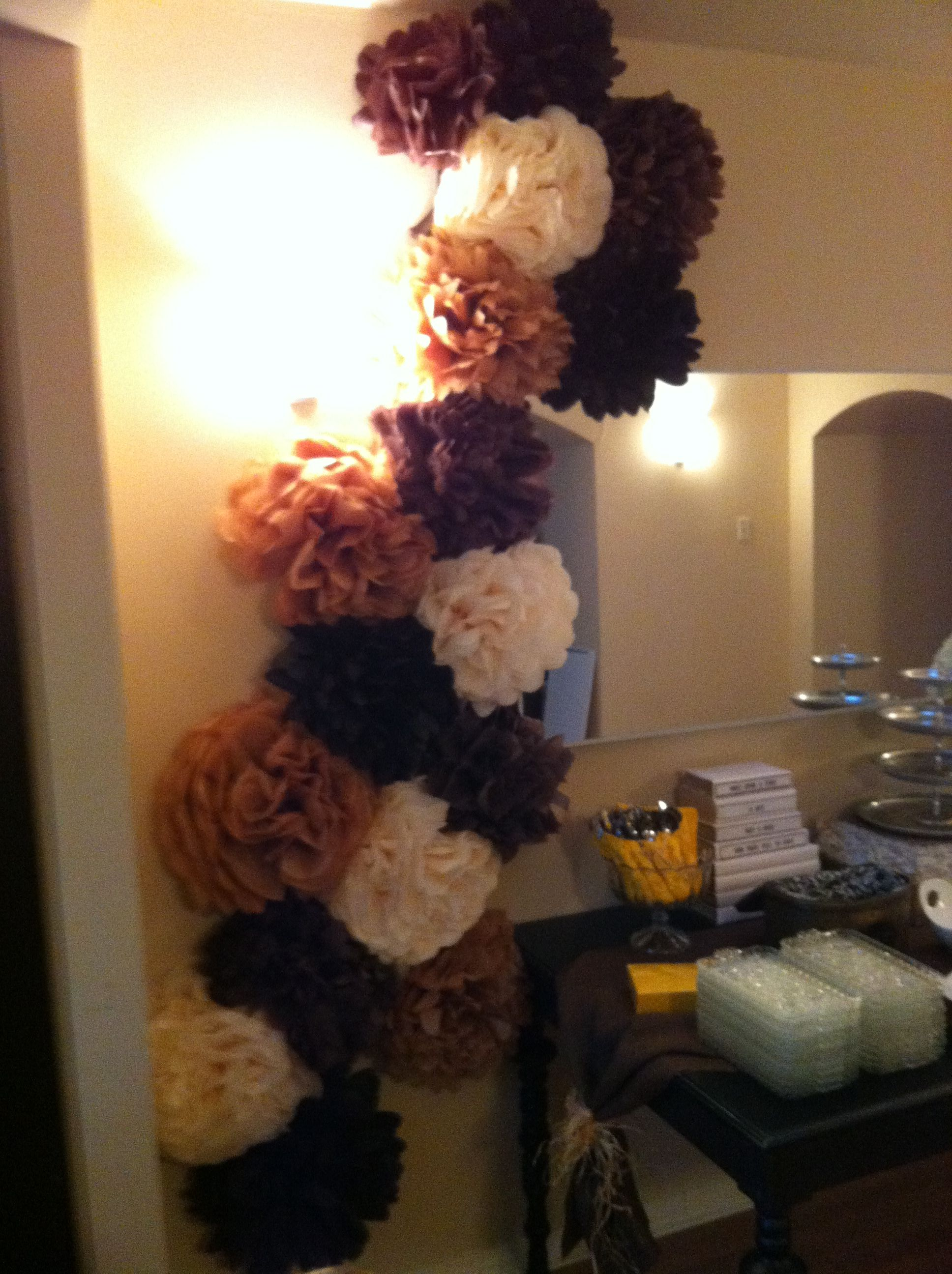 Country chic pom pom display for a bridal shower created by jody