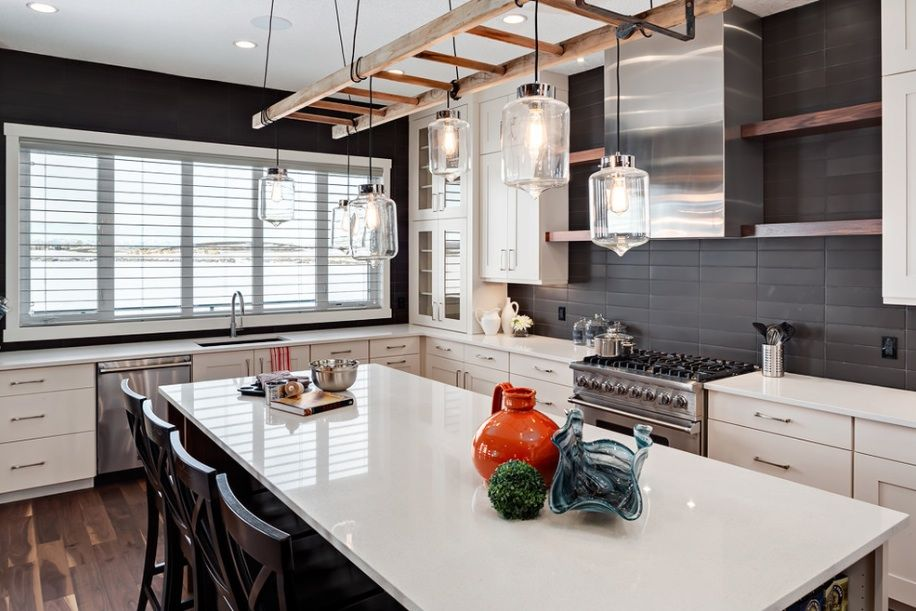 Transitional Kitchen By Trickle Creek Custom HomesI Wouldnt Call This Traditional The Ladder Light Fixture Is Great