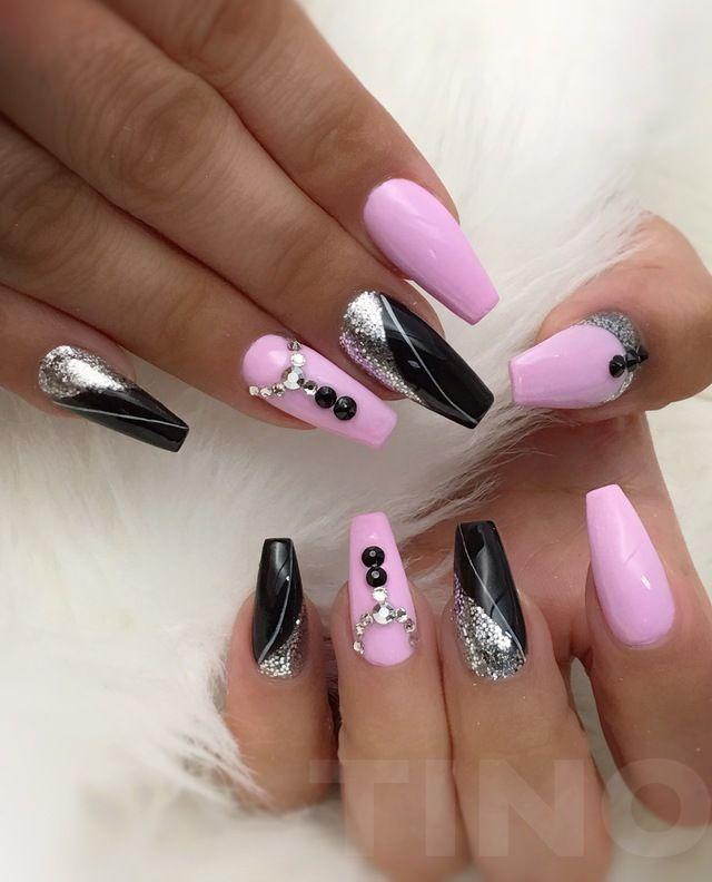 Pink and black coffin nails with gems by Tino Vo. Nail art via ...