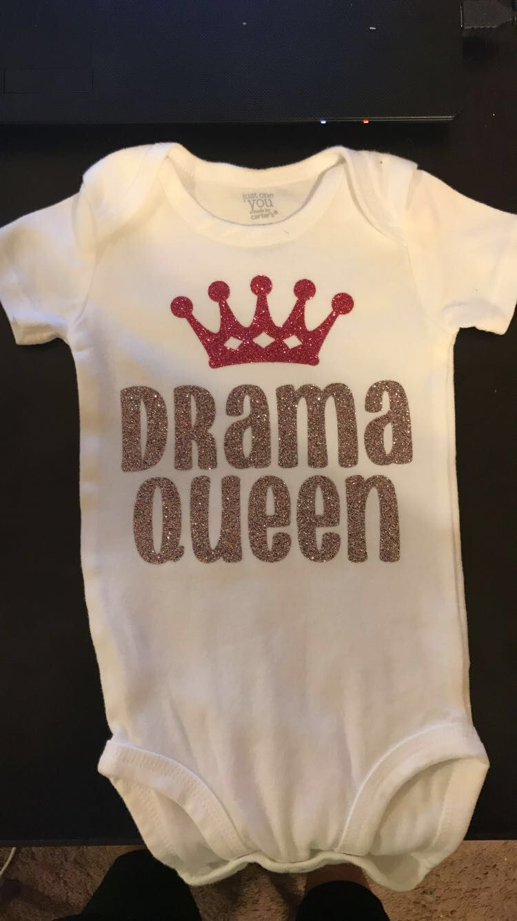 Baby Onesie Drama Queen Cricut Iron On Vinyl Crown