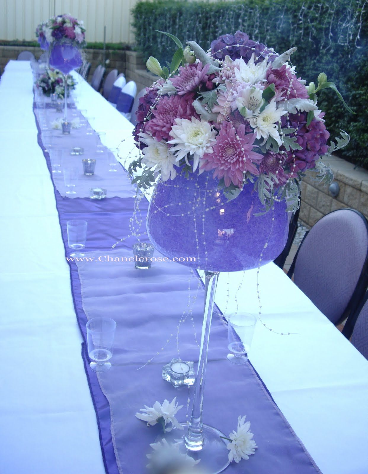 Engagement party decorations lavender purple table