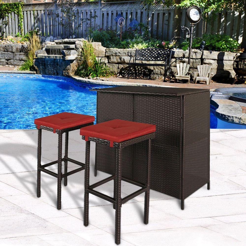 Patio Bar Set 3 Pc Outdoor Garden Furniture Pool Side Rattan Bar
