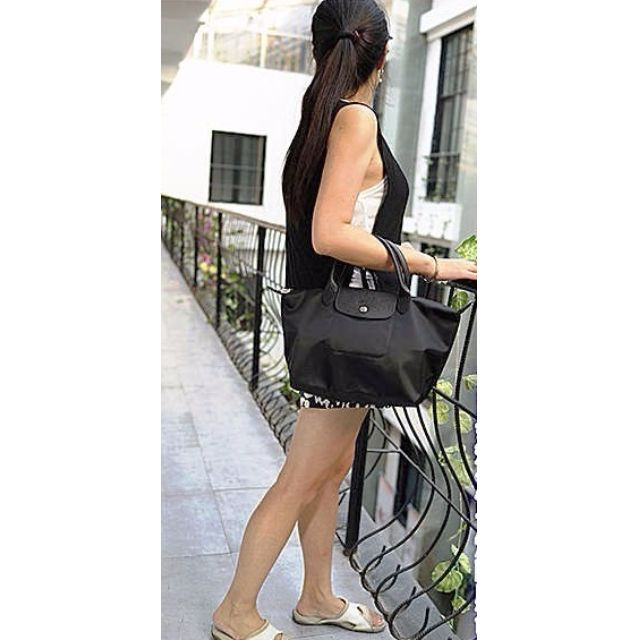 359cefd42178 Authentic Longchamp Neo Tote Crossbody Bag Small Short Handle Black ...