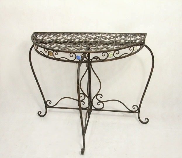 Antique Wrought Iron Scroll Design Rustic Crescent Console Table